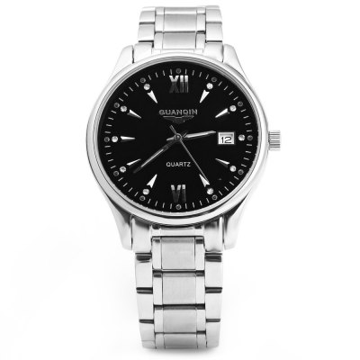 GUANQIN Men Calendar Rhinestone Water Resistant Luminous Quartz Watch for MenCouples Watches<br>GUANQIN Men Calendar Rhinestone Water Resistant Luminous Quartz Watch for Men<br><br>Brand: GUANQIN<br>Watches categories: Male table<br>Watch style: Fashion<br>Style elements: Stainless steel<br>Movement type: Quartz watch<br>Shape of the dial: Round<br>Display type: Analog<br>Case material: Stainless steel<br>Case color: Gold, Silver<br>Band material: Stainless steel<br>Clasp type: Butterfly clasp<br>Special features: Luminous, Calendar<br>Water resistance: 30 meters<br>The dial thickness: 0.8 cm / 0.31 inches<br>The dial diameter: 3.8 cm / 1.50 inches<br>The band width: 1.7 cm / 0.67 inches<br>Product weight: 0.104 kg<br>Package weight: 0.174 kg<br>Product size (L x W x H): 25 x 3.8 x 0.8 cm / 9.83 x 1.49 x 0.31 inches<br>Package size (L x W x H): 27 x 5.8 x 2.8 cm / 10.61 x 2.28 x 1.10 inches<br>Package contents: 1 x GUANQIN Men Calendar Luminous Quartz Watch