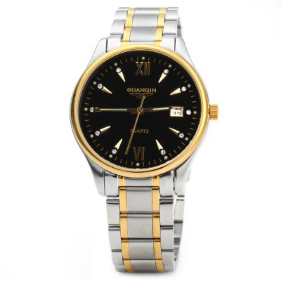 GUANQIN Men Calendar Rhinestone Water Resistant Luminous Quartz Watch for MenCouples Watches<br>GUANQIN Men Calendar Rhinestone Water Resistant Luminous Quartz Watch for Men<br><br>Brand: GUANQIN<br>Watches categories: Male table<br>Watch style: Fashion<br>Style elements: Stainless steel<br>Movement type: Quartz watch<br>Shape of the dial: Round<br>Display type: Analog<br>Case material: Stainless steel<br>Case color: Silver, Gold<br>Band material: Stainless steel<br>Clasp type: Butterfly clasp<br>Special features: Calendar, Luminous<br>Water resistance: 30 meters<br>The dial thickness: 0.8 cm / 0.31 inches<br>The dial diameter: 3.8 cm / 1.50 inches<br>The band width: 1.7 cm / 0.67 inches<br>Product weight: 0.104 kg<br>Package weight: 0.174 kg<br>Product size (L x W x H): 25 x 3.8 x 0.8 cm / 9.83 x 1.49 x 0.31 inches<br>Package size (L x W x H): 27 x 5.8 x 2.8 cm / 10.61 x 2.28 x 1.10 inches<br>Package contents: 1 x GUANQIN Men Calendar Luminous Quartz Watch
