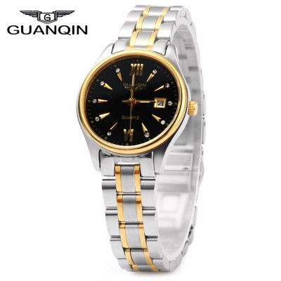 GUANQIN Female Calendar Rhinestone Water Resistant Luminous Quartz Watch for Men