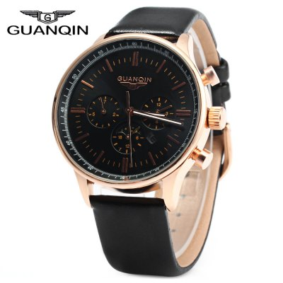GUANQIN Male Leather Calendar Luminous Quartz Watch