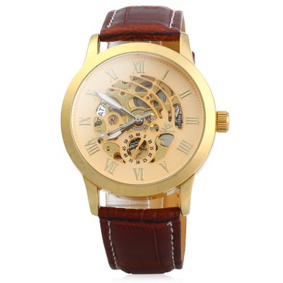 ФОТО SHENHUA 9269 Men Hollow Automatic Mechanical Watch with Leather Strap