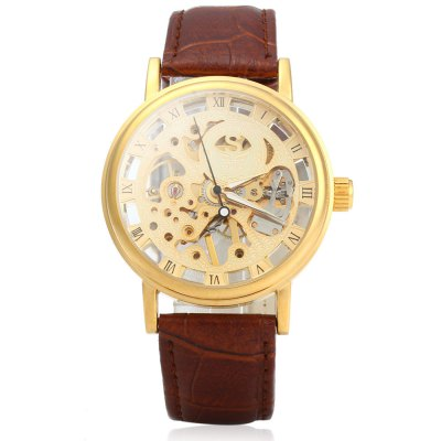 SEWOR Men Hollow Mechanical Watch with Leather StrapMechanical Watches<br>SEWOR Men Hollow Mechanical Watch with Leather Strap<br><br>Watches categories: Male table<br>Watch style: Hollow-out<br>Style elements: Hollow Out<br>Movement type: Mechanical watch<br>Shape of the dial: Round<br>Display type: Analog<br>The bottom of the table: Gone<br>Case material: Stainless Steel<br>Case color: Gold,Silver<br>Band material: Leather<br>Clasp type: Pin buckle<br>Band color: Black,Brown<br>Special features: Luminous<br>The dial thickness: 1 cm /  0.39 inches<br>The dial diameter: 3.8 cm / 1.50 inches<br>The band width: 1.9 cm / 0.75 inches<br>Wearable length: 19 - 23 cm / 7.48 - 9.06 inches<br>Product weight: 0.049 kg<br>Package weight: 0.075 kg<br>Product size (L x W x H): 25.00 x 3.80 x 1.00 cm / 9.84 x 1.5 x 0.39 inches<br>Package size (L x W x H): 27.00 x 5.80 x 3.00 cm / 10.63 x 2.28 x 1.18 inches<br>Package Contents: 1 x SEWOR Men Hollow Mechanical Watch