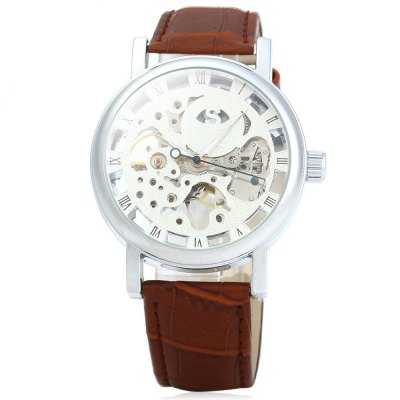 ФОТО SEWOR Men Hollow Mechanical Watch with Leather Strap