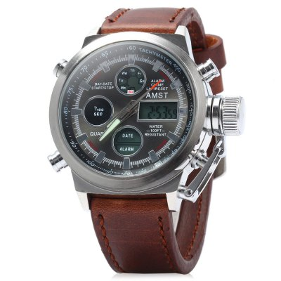 AMST 3003 Men Lady Dual Display Military Quartz Digital WatchUnisex Watches<br>AMST 3003 Men Lady Dual Display Military Quartz Digital Watch<br><br>Brand: AMST<br>People: Unisex table<br>Watch style: LED, Military, Outdoor Sports<br>Shape of the dial: Round<br>Movement type: Double-movtz<br>Display type: Analog-Digital<br>Hour formats: 12/24 Hour<br>Case material: Stainless Steel<br>Band material: Leather<br>Clasp type: Pin buckle<br>Special features: Alarm clock, Stopwatch, GMT, Calendar, Luminous, Date, 12/24 hours switch, Week<br>Water resistance: 30 meters<br>The dial thickness: 1.5 cm / 0.59 inches<br>The dial diameter: 4.5 cm / 1.77 inches<br>The band width: 2.2 cm / 0.87 inches<br>Wearable length: 19 - 23 cm / 7.48 - 9.06 inches<br>Product weight: 0.098 kg<br>Package weight: 0.168 kg<br>Product size (L x W x H) : 25.5 x 5.3 x 1.5 cm / 10.02 x 2.08 x 0.59 inches<br>Package size (L x W x H): 27.5 x 7.3 x 3.5 cm / 10.81 x 2.87 x 1.38 inches<br>Package contents: 1 x AMST 3003 Unisex Dual Display Military Quartz Digital Watch