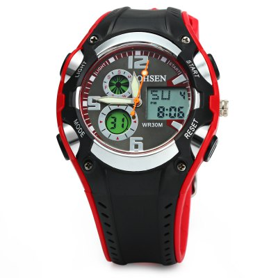 OHSEN AD1309 Men Sports Digital WatchSports Watches<br>OHSEN AD1309 Men Sports Digital Watch<br><br>Brand: OHSEN<br>People: Male table<br>Watch style: Outdoor Sports, LED<br>Available color: Black, White, Red, Yellow<br>Shape of the dial: Round<br>Movement type: Double-movtz<br>Display type: Analog-Digital<br>Hour formats: 12/24 Hour<br>Case material: Stainless Steel<br>Band material: Rubber<br>Clasp type: Pin buckle<br>Special features: Luminous, Day, EL Back-light, Date, 12/24 hours switch, Week, Working small sub-dials, Alarm clock, Stopwatch<br>Water resistance: 30 meters<br>The dial thickness: 1.5 cm / 0.59 inches<br>The dial diameter: 4 cm / 1.57 inches<br>The band width: 2 cm / 0.79 inches<br>Wearable length: 16 - 21.5 cm / 6.30 - 8.46 inches<br>The bracelet inner diameter: 3 cm / 1.18 inches<br>Product weight: 0.047 kg<br>Package weight: 0.117 kg<br>Product size (L x W x H) : 24 x 4 x 1.5 cm / 9.43 x 1.57 x 0.59 inches<br>Package size (L x W x H): 25 x 5 x 2.5 cm / 9.83 x 1.97 x 0.98 inches<br>Package contents: 1 x OHSEN AD1309 Men Sports Digital Watch