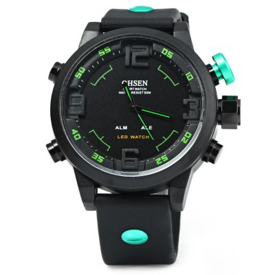 OHSEN AD2820 Men Sports Quartz WatchSports Watches<br>OHSEN AD2820 Men Sports Quartz Watch<br><br>Brand: OHSEN<br>People: Male table<br>Watch style: Military, Outdoor Sports, LED<br>Available color: White, Red, Blue, Green, Black<br>Shape of the dial: Round<br>Movement type: Double-movtz<br>Display type: Analog-Digital, LED lamp<br>Hour formats: 12/24 Hour<br>Case material: Stainless Steel<br>Band material: Silicone<br>Clasp type: Pin buckle<br>Special features: 12/24 hours switch, Day, Date, Week, Alarm clock<br>Water resistance: 50 meters<br>The dial thickness: 1.5 cm / 0.59 inches<br>The dial diameter: 5 cm / 1.97 inches<br>The band width: 2.2 cm / 0.87 inches<br>Wearable length: 18 - 25 cm / 7.09 - 9.84 inches<br>The bracelet inner diameter: 4 cm / 1.57 inches<br>Product weight: 0.067 kg<br>Package weight: 0.137 kg<br>Product size (L x W x H) : 27 x 5 x 1.5 cm / 10.61 x 1.97 x 0.59 inches<br>Package size (L x W x H): 28 x 6 x 2.5 cm / 11.00 x 2.36 x 0.98 inches<br>Package contents: 1 x OHSEN AD2820 Men Sports Quartz Watch