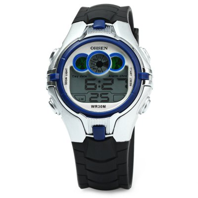 OHSEN AD0739 Kids Sports Digital WatchKids Watches<br>OHSEN AD0739 Kids Sports Digital Watch<br><br>Watches categories: Children watch<br>Watch style: LED<br>Style elements: LED<br>Available color: Black,White,Blue,Orange,Yellow<br>Movement type: Digital watch<br>Shape of the dial: Round<br>Display type: Digital<br>Case material: Alloys<br>Band material: Rubber<br>Clasp type: Pin buckle<br>Water resistance : 30 meters<br>Special features: Alarm Clock,Light,Day,Date,Week,Stopwatch<br>The dial thickness: 1.4 cm / 0.55 inches<br>The dial diameter: 4 cm / 1.57 inches<br>The band width: 2 cm / 0.79 inches<br>Wearable length: 15 - 21 cm / 5.91 - 8.27 inches<br>Product weight: 0.037 kg<br>Package weight: 0.060 kg<br>Product size (L x W x H): 24.00 x 4.00 x 1.40 cm / 9.45 x 1.57 x 0.55 inches<br>Package size (L x W x H): 25.00 x 5.00 x 2.40 cm / 9.84 x 1.97 x 0.94 inches<br>Package Contents: 1 x OHSEN AD0739 Kids Sports Digital Watch
