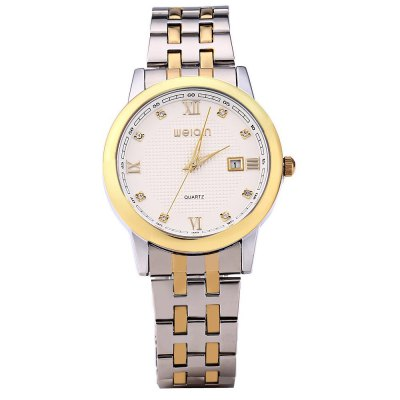WEIQIN W00115BG Men Quartz Watch - WeiQinMens Watches<br>WEIQIN W00115BG Men Quartz Watch<br><br>Watches categories: Male table<br>Watch style: Business<br>Style elements: Stainless steel<br>Available color: White, Black<br>Movement type: Quartz watch<br>Shape of the dial: Round<br>Display type: Analog<br>Case material: Stainless steel<br>Band material: Stainless steel<br>Clasp type: Folding clasp with safety<br>Band color: Assorted colors<br>Special features: Date<br>Water resistance: 10 meters<br>The dial thickness: 1.01 cm / 0.39 inches<br>The dial diameter: 4.23 cm /1.66 inches<br>The band width: 1.8 cm / 0.7 inches<br>Product weight: 0.090 kg<br>Package weight: 0.194 kg<br>Product size (L x W x H): 24.8 x 4.23 x 1.01 cm / 9.75 x 1.66 x 0.40 inches<br>Package size (L x W x H): 12.5 x 5.23 x 2.01 cm / 4.91 x 2.06 x 0.79 inches<br>Package contents: 1 x WEIQIN W00115BG Men Quartz Watch with Golden Case Calendar Roman Number Rhinestone Decoration