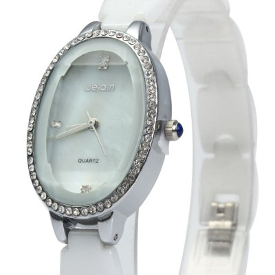 WeiQin W3216 Female Quartz WatchWomens Watches<br>WeiQin W3216 Female Quartz Watch<br><br>Watches categories: Female table<br>Available color: Gold,Silver<br>Style: Ceramics<br>Movement type: Quartz watch<br>Shape of the dial: Elliptical<br>Display type: Analog<br>Case material: Rhinestone<br>Band material: Ceramic<br>Clasp type: Folding clasp with safety<br>Band color: White<br>Water resistance : Life water resistant<br>The dial thickness: 1 cm / 0.39 inches<br>The dial diameter: 3.3 cm / 1.30 inches<br>The band width: 1.1 cm / 0.43 inches<br>Wearable length: 20.5 cm / 8.07 inches<br>Product weight: 0.052 kg<br>Package weight: 0.122 kg<br>Product size (L x W x H): 22.00 x 2.30 x 1.00 cm / 8.66 x 0.91 x 0.39 inches<br>Package size (L x W x H): 24.00 x 4.30 x 3.00 cm / 9.45 x 1.69 x 1.18 inches<br>Package Contents: 1 x WeiQin W3216 Ceramic Ladies Quartz Watch