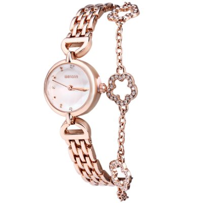 WeiQin W4782 Flower Pendant Bracelet Female Quartz Watch with Pearl Shell Dial
