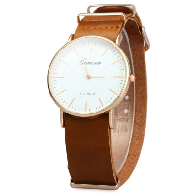 Geneva JYY001 Male Female Ultrathin Quartz Wristwatch with Leather Strap