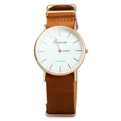 Geneva JYY001 Male Female Ultrathin Quartz Wristwatch with Leather StrapMens Watches<br>Geneva JYY001 Male Female Ultrathin Quartz Wristwatch with Leather Strap<br><br>Available Color: Black,Brown,Coffee<br>Band material: PU Leather<br>Brand: Geneva<br>Brand origin: Austria<br>Case color: Gold<br>Case material: Alloys<br>Clasp type: Pin buckle<br>Display type: Analog<br>Movement type: Quartz watch<br>Package Contents: 1 x Geneva JYY001 Ultrathin Quartz Wrist Watch<br>Package size (L x W x H): 28.00 x 6.00 x 2.70 cm / 11.02 x 2.36 x 1.06 inches<br>Package weight: 0.100 kg<br>People: Unisex table<br>Product size (L x W x H): 26.00 x 4.00 x 0.70 cm / 10.24 x 1.57 x 0.28 inches<br>Product weight: 0.030 kg<br>Shape of the dial: Round<br>Style elements: Big dial<br>The band width: 2.1 cm / 0.83 inches<br>The dial diameter: 4 cm / 1.57 inches<br>The dial thickness: 0.7 cm / 0.28 inches<br>Watch style: Casual<br>Wearable length: 19.7 - 23.7 cm / 7.76 - 9.33 inches