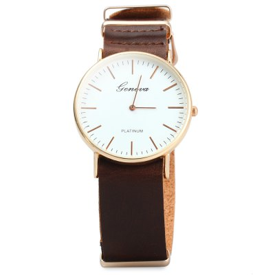 Geneva JYY001 Male Female Ultrathin Quartz Wristwatch with Leather Strap - GenevaMens Watches<br>Geneva JYY001 Male Female Ultrathin Quartz Wristwatch with Leather Strap<br><br>Brand: Geneva<br>Brand origin: Austria<br>People: Unisex table<br>Watch style: Casual<br>Style elements: Big dial<br>Available color: Black, Brown, Coffee<br>Shape of the dial: Round<br>Movement type: Quartz watch<br>Display type: Analog<br>Case material: Alloys<br>Case color: Gold<br>Band material: PU leather<br>Clasp type: Pin buckle<br>The dial thickness: 0.7 cm / 0.28 inches<br>The dial diameter: 4 cm / 1.57 inches<br>The band width: 2.1 cm / 0.83 inches<br>Wearable length: 19.7 - 23.7 cm / 7.76 - 9.33 inches<br>Product weight: 0.030 kg<br>Package weight: 0.10 kg<br>Product size (L x W x H) : 26 x 4 x 0.7 cm / 10.22 x 1.57 x 0.28 inches<br>Package size (L x W x H): 28 x 6 x 2.7 cm / 11.00 x 2.36 x 1.06 inches<br>Package contents: 1 x Geneva JYY001 Ultrathin Quartz Wrist Watch