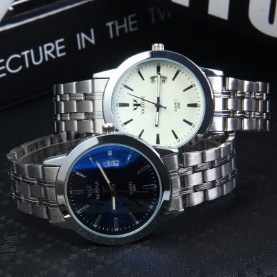 Фотография YAZOLE 296 Calendar Stainless Steel Strap Blue Light Quartz Watch for Men Women