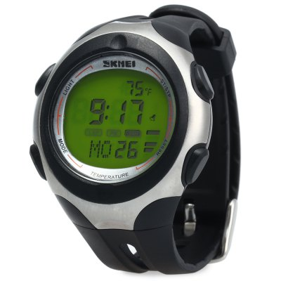 Skmei 1080 Male Digital WristwatchSports Watches<br>Skmei 1080 Male Digital Wristwatch<br><br>Brand: Skmei<br>People: Male table<br>Watch style: Military,Outdoor Sports<br>Available color: Army green,Black,Green,Orange,White<br>Shape of the dial: Round<br>Movement type: Digital watch<br>Display type: Digital,LED lamp<br>Hour formats: 12/24 Hour<br>Case material: PC<br>Band material: PU<br>Clasp type: Pin buckle<br>Special features: 12/24 hours switch,Alarm Clock,EL Back-light,Luminous,Thermometer,Week<br>Water resistance : 50 meters<br>The dial thickness: 1.4 cm / 0.55 inches<br>The dial diameter: 4.5 cm / 1.77 inches<br>The band width: 1.9 cm / 0.75 inches<br>Wearable length: 16 - 22 cm / 6.30 - 8.66 inches<br>The bracelet inner diameter: 3 cm / 1.18 inches<br>Product weight: 0.047 kg<br>Package weight: 0.117 kg<br>Product size (L x W x H): 24.00 x 4.50 x 1.40 cm / 9.45 x 1.77 x 0.55 inches<br>Package size (L x W x H): 26.00 x 6.50 x 3.40 cm / 10.24 x 2.56 x 1.34 inches<br>Package Contents: 1 x Skmei 1080 Male Digital Watch