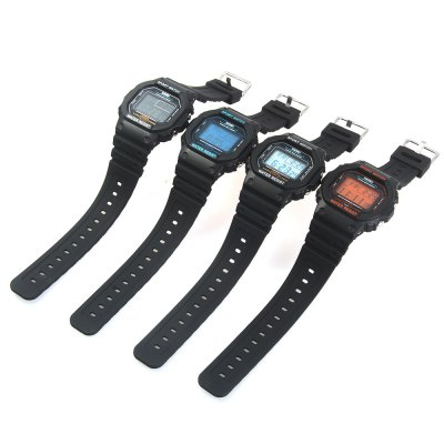 Skmei 1134 Sports Male 5ATM Water Resistant Digital Wristwatch with PU StrapSports Watches<br>Skmei 1134 Sports Male 5ATM Water Resistant Digital Wristwatch with PU Strap<br><br>Brand: Skmei<br>Watches categories: Male table<br>Watch style: Trends in outdoor sports<br>Available color: Blue, Orange, Black, White<br>Movement type: Digital watch<br>Shape of the dial: Rectangle<br>Display type: Digital<br>Hour formats: 12/24 Hour<br>Case material: PC<br>Band material: PU<br>Clasp type: Pin buckle<br>Band color: Black<br>Special features: Week, Alarm clock, Stopwatch, Luminous, Date<br>Water resistance: 50 meters<br>The dial thickness: 1.3 cm / 0.51 inches<br>The dial diameter: 5 cm / 1.97 inches<br>The band width: 2.2 cm / 0.87 inches<br>Wearable length: 16.5 - 26.5 cm / 6.50 - 10.43 inches<br>Product weight: 0.058 kg<br>Package weight: 0.128 kg<br>Product size (L x W x H): 27 x 5 x 1.3 cm / 10.61 x 1.97 x 0.51 inches<br>Package size (L x W x H): 29 x 7 x 3.3 cm / 11.40 x 2.75 x 1.30 inches<br>Package contents: 1 x Skmei 1134 Men Sports Digital Watch