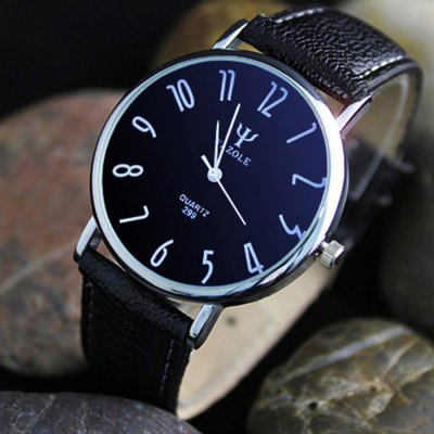 Yazole 299 Leather Band Men Quartz Watch
