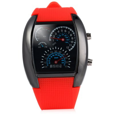 Blue LED Car Watch with Arch Dial and Silicon Watch BandSports Watches<br>Blue LED Car Watch with Arch Dial and Silicon Watch Band<br><br>People: Unisex table<br>Watch style: Fashion&amp;Casual<br>Shape of the dial: Arch<br>Movement type: Digital watch<br>Display type: Digital<br>Case material: Stainless Steel<br>Band material: Rubber<br>Clasp type: Pin buckle<br>Special features: Light<br>The dial thickness: 4.3 cm<br>The dial diameter: 0.8 cm<br>Product weight: 0.070 kg<br>Package weight: 0.120 kg<br>Product size (L x W x H): 26.50 x 4.30 x 0.80 cm / 10.43 x 1.69 x 0.31 inches<br>Package size (L x W x H): 24.00 x 4.00 x 1.00 cm / 9.45 x 1.57 x 0.39 inches<br>Package Contents: 1 x Watch
