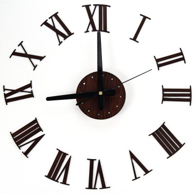 Creative Wooden Grain DIY Wall Clock with Self-adhesive Numbers Dots Metal Pointer