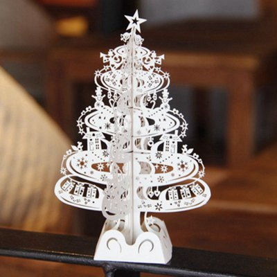 3D Hollow Out Christmas Tree Design Postcard