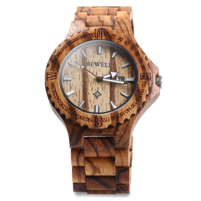 BEWELL ZS - W023A Wooden Date Quartz Wrist Watch for MenMens Watches<br>BEWELL ZS - W023A Wooden Date Quartz Wrist Watch for Men<br><br>Band color: Brown,White<br>Band material: Wood<br>Case material: Wood<br>Clasp type: Folding clasp with safety<br>Display type: Analog<br>Movement type: Quartz watch<br>Package Contents: 1 x BEWELL ZS - W023A Wooden Calendar Quartz Watch<br>Package size (L x W x H): 25.50 x 7.00 x 3.20 cm / 10.04 x 2.76 x 1.26 inches<br>Package weight: 0.1320 kg<br>Product size (L x W x H): 23.50 x 5.00 x 1.20 cm / 9.25 x 1.97 x 0.47 inches<br>Product weight: 0.0620 kg<br>Shape of the dial: The other<br>Special features: Calendar<br>Style elements: Sandalwood<br>The band width: 2.5 cm / 0.98 inches<br>The dial diameter: 4.4 cm / 1.73 inches<br>The dial thickness: 1.2 cm / 0.47 inches<br>Watch style: Fashion<br>Watches categories: Male table<br>Water resistance : Life water resistant