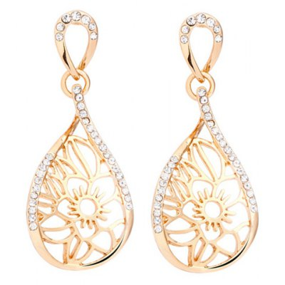 Pair of Exquisite Rhinestone Hollow Out Water Drop Earrings For Women