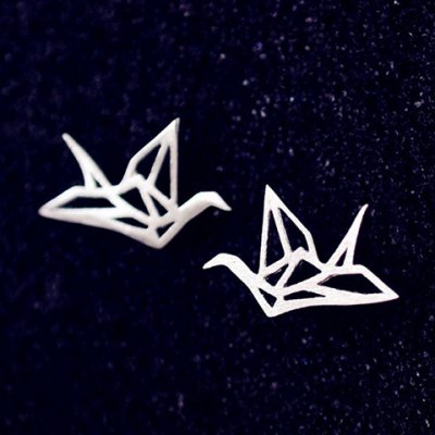 Pair of Solid Color Hollow Out Crane Shape Earrings For Women