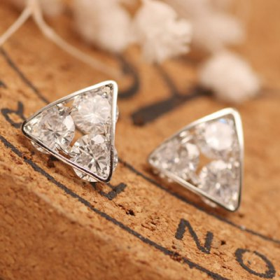 Pair of Delicate Zircon Hollow Out Triangle Earrings For Women
