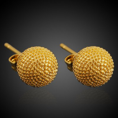 Pair of Noble Solid Color Matte Ball Earrings For Women