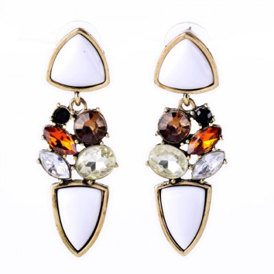 Pair of Noble Faux Crystal Artificial Gemstone Irregular Earrings For Women