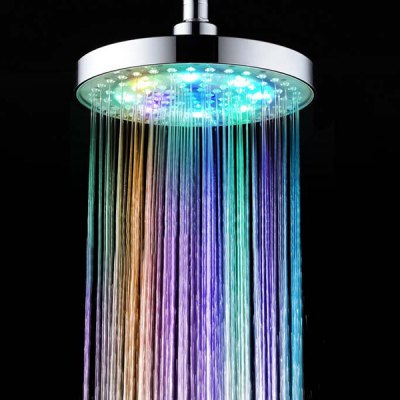 8 Inch LED Light 7 Colors Glow Supercharged Round Shower Head