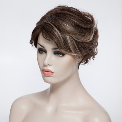 Fashion Fluffy Wavy Short Capless Charming Mixed Color Inclined Bang Synthetic Wig For Women