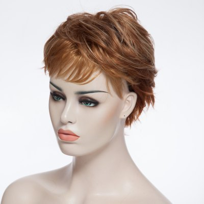 Charming Short Fluffy Wave Side Bang Gold Heat Resistant Synthetic Wig For Women