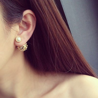 Pair of Trendy Faux Pearl Rhinestoned Round Ball Earrings For Women