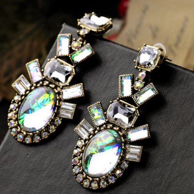 Фотография Pair of Charming Rhinestone Faux Crystal Geometric Shape Earrings For Women