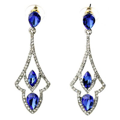Pair of Stunning Rhinestoned Faux Crystal Oval Hollow Out Earrings For Women