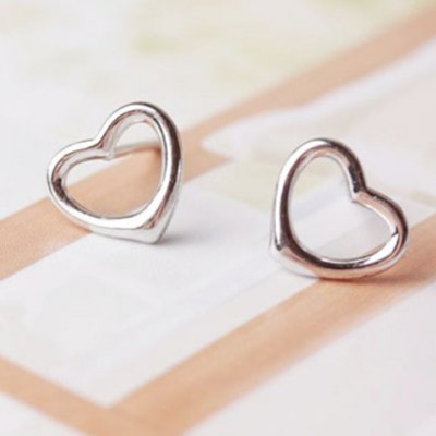 Pair of Cute Solid Color Heart Hollow Out Earrings For Women
