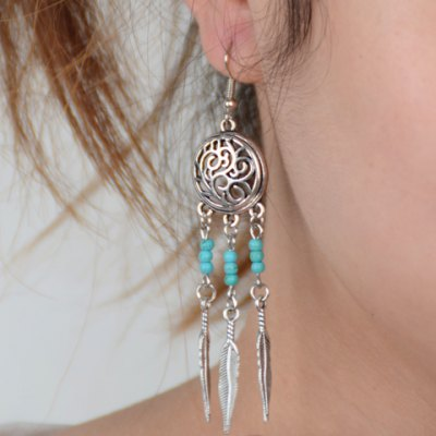 Pair of Vintage Hollow Out Round Shape Feather Earrings For Women