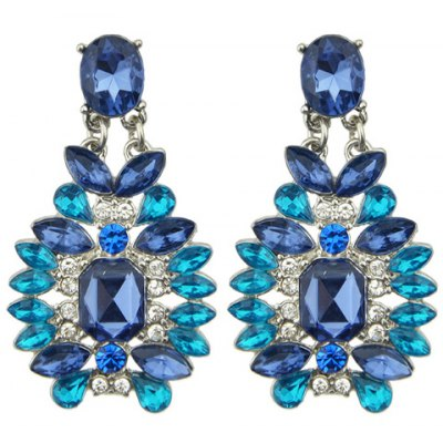 Pair of Vintage Rhinestone Faux Sapphire Earrings For Women