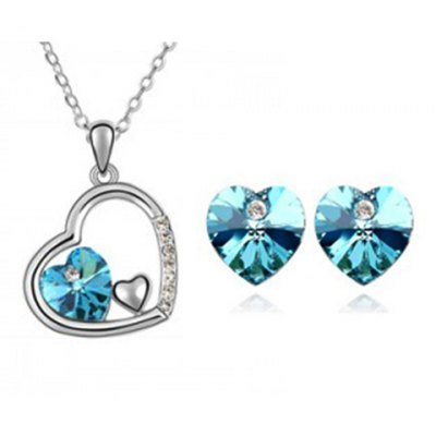 A Suit of Stylish Faux Crystal Rhinestone Hollow Out Heart Shape Necklace and Earrings For Women