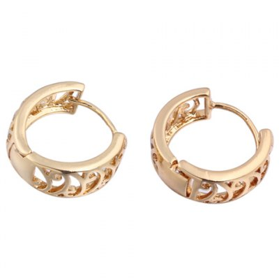Pair of Vintage Solid Color Hollow Out Round Earrings For Women