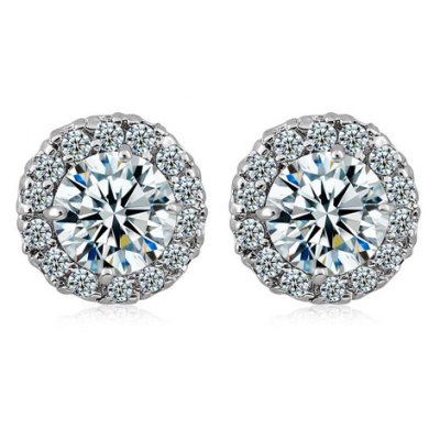 Pair of Faux Crystal Rhinestoned Round Earrings