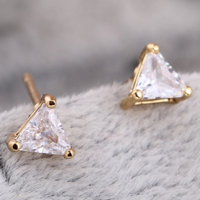 Pair of Faux Crystal Triangle Shape Stud Earrings