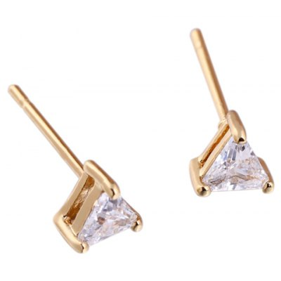 Pair of Faux Crystal Triangle Shape Earrings