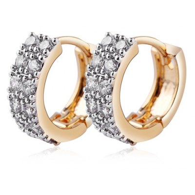 Pair of Graceful Rhinestoned Round Hollow Out Earrings For Women