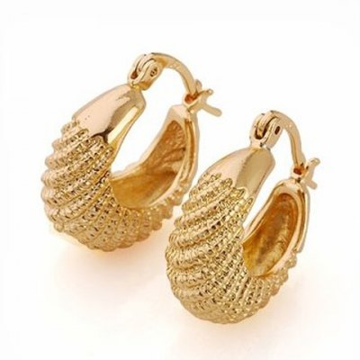Pair of Vintage Solid Color Fish Shape Hollow Out Earrings For Women