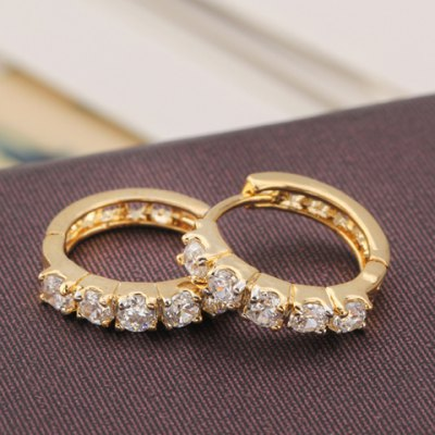 Pair of Graceful Rhinestone Hollow Out Earrings For Women