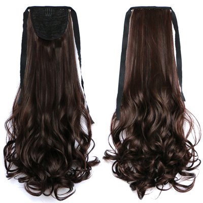 Charming Long Rinka Haircut Capless Trendy Fluffy Wavy Synthetic Ponytail For Women