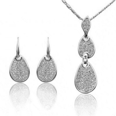 A Suit of Trendy Rhinestoned Water Drop Necklace and Earrings For Women