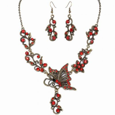 A Suit of Vintage Rhinestone Butterfly Hollow Out Necklace and Earrings For Women